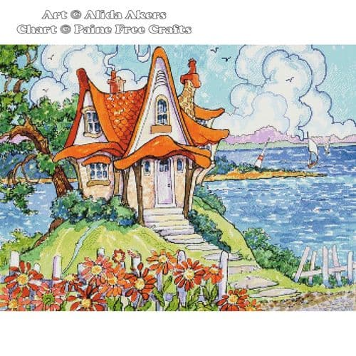 A bit of whimsy by the shore by Paine Free Crafts printed cross stitch chart